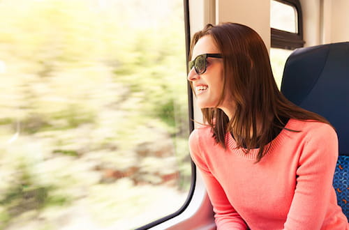 woman riding the train