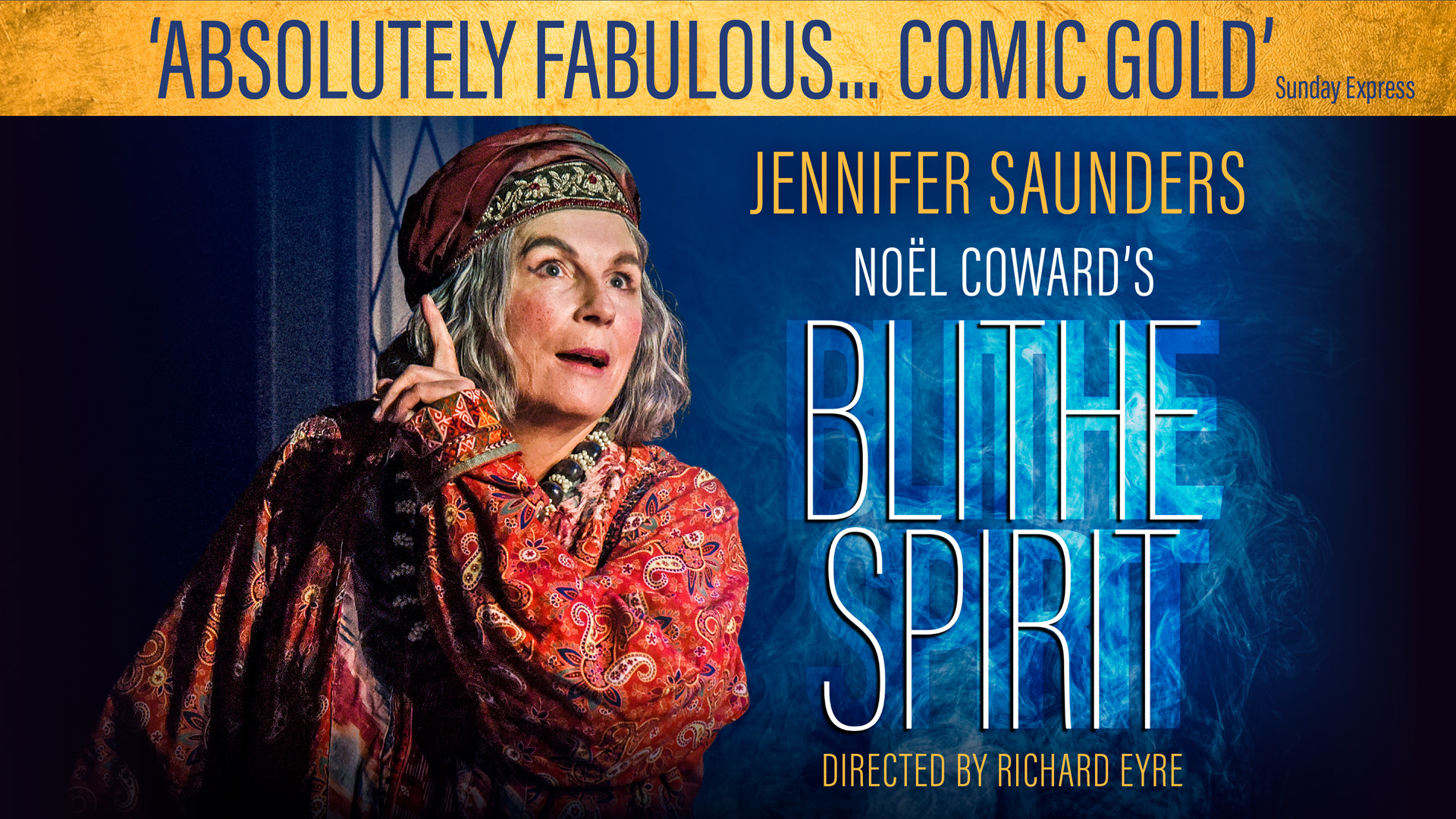 title artwork for Blithe Spirit by Noel Coward featuring Jennifer Saunders