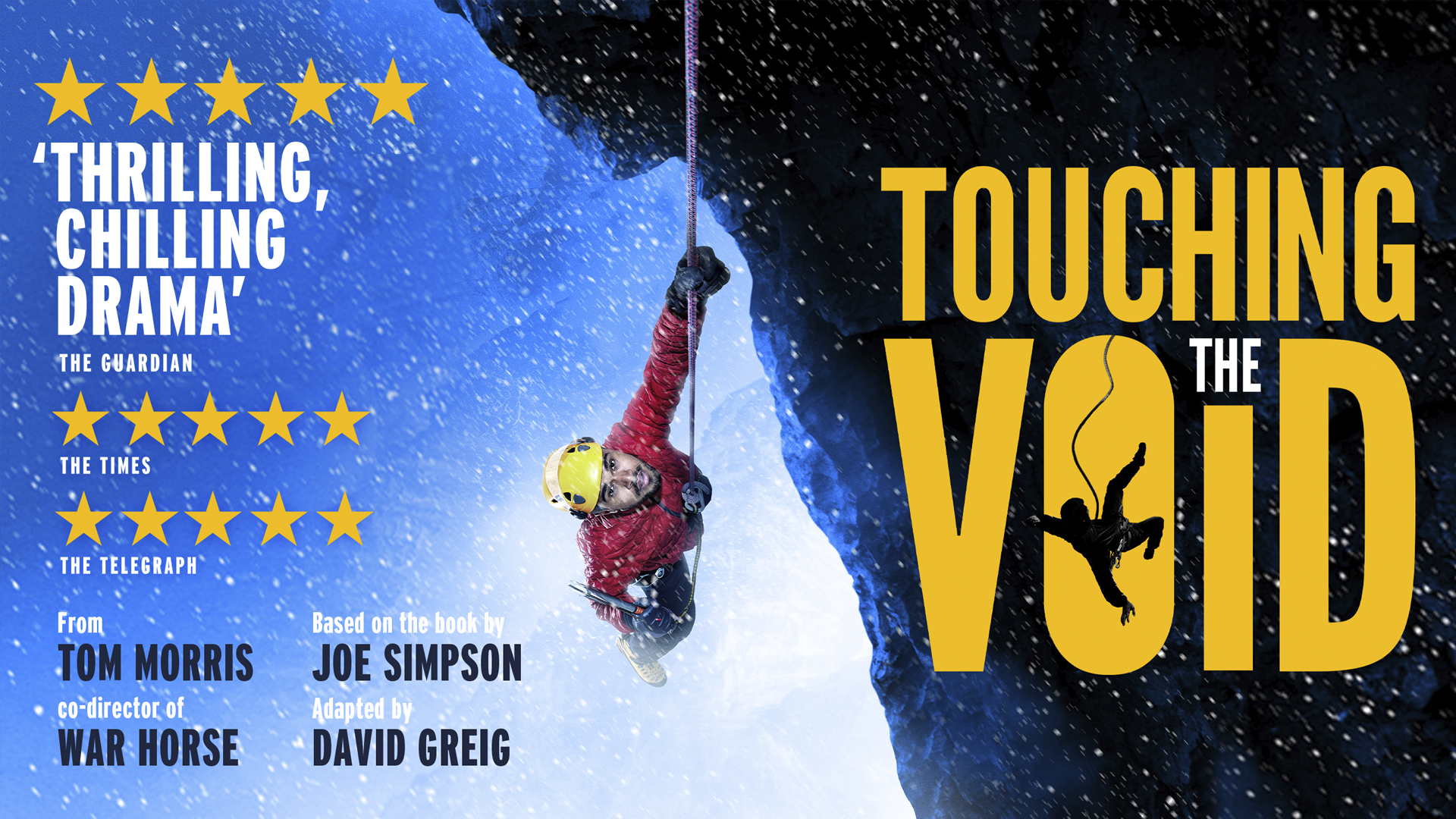 Title artwork for touching the void featuring 5 star reviews