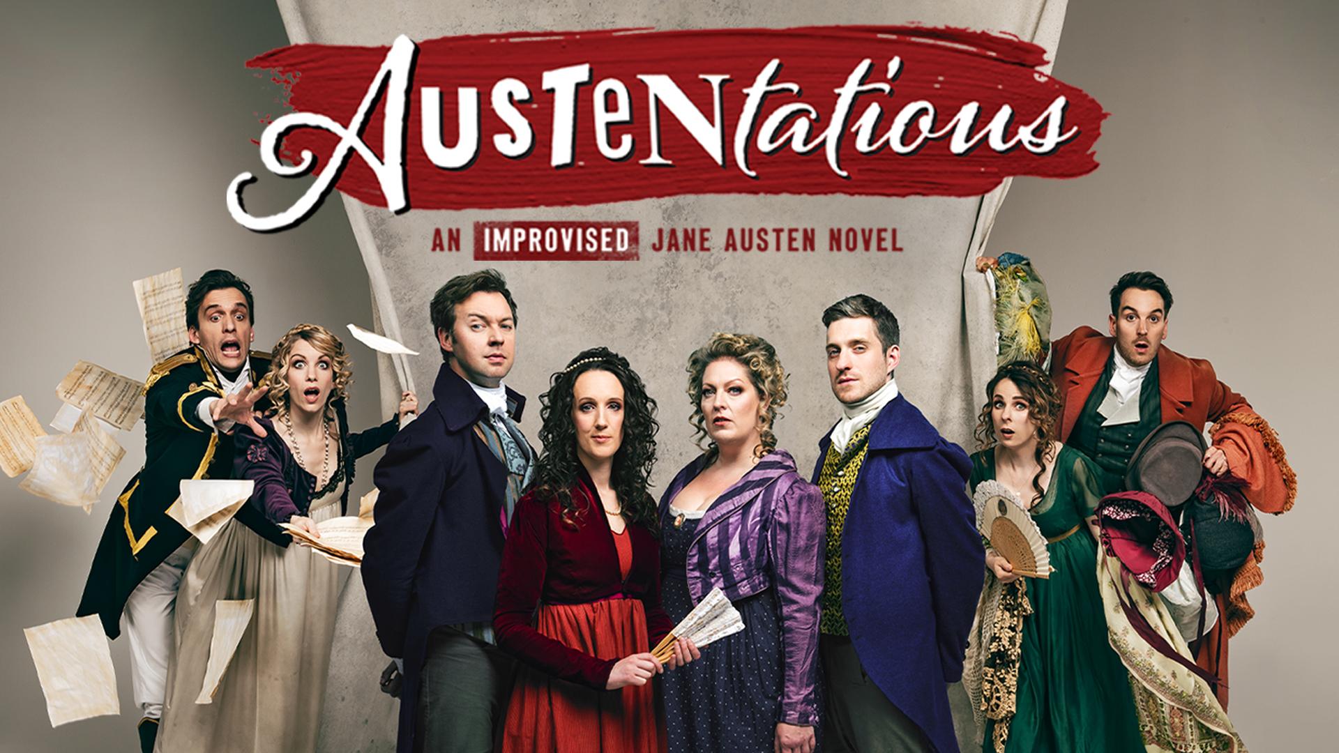 Austentatious title artwork featuring 5 star reviews