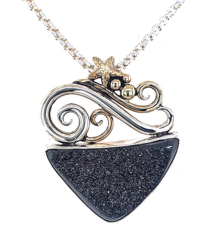 black necklace pendant