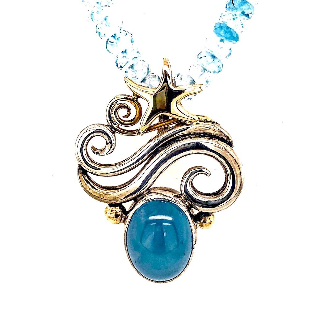 Satin Aqua Necklace pendant