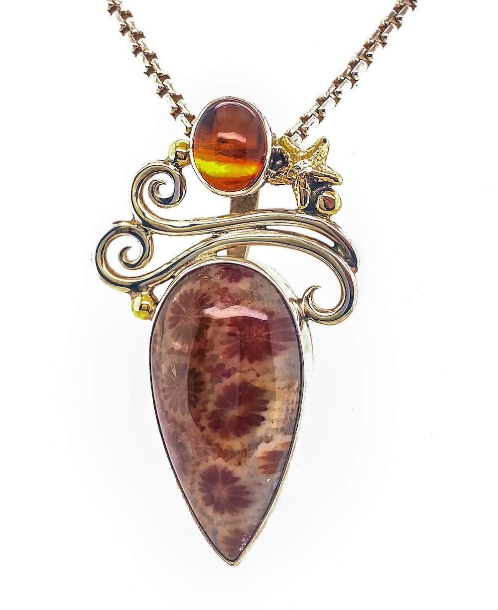 Fossilized Coral Necklace pendant