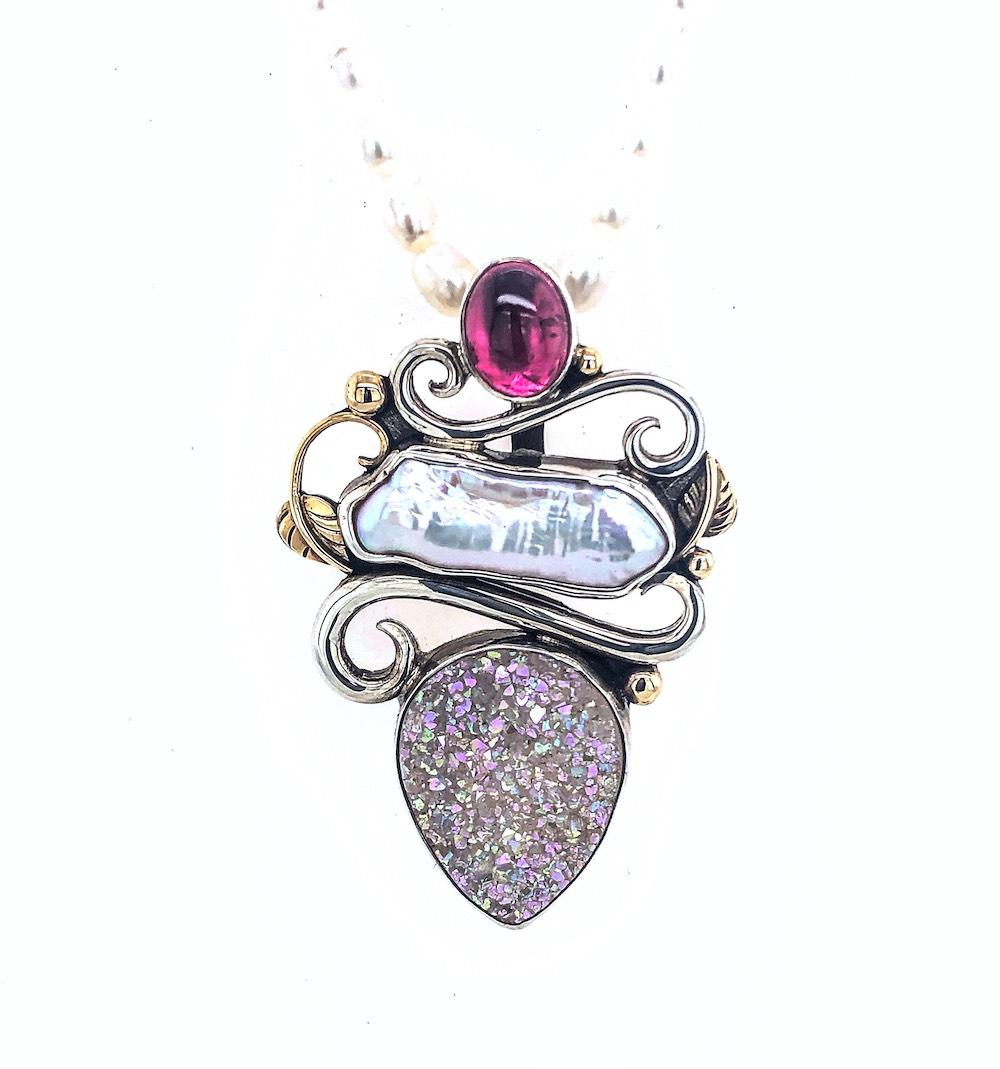 Pink Tourmaline Drusy Necklace pendant