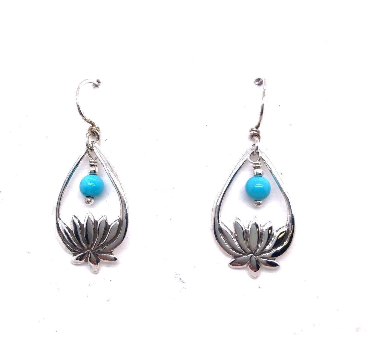 Turquoise Lotus Flowers Earrings