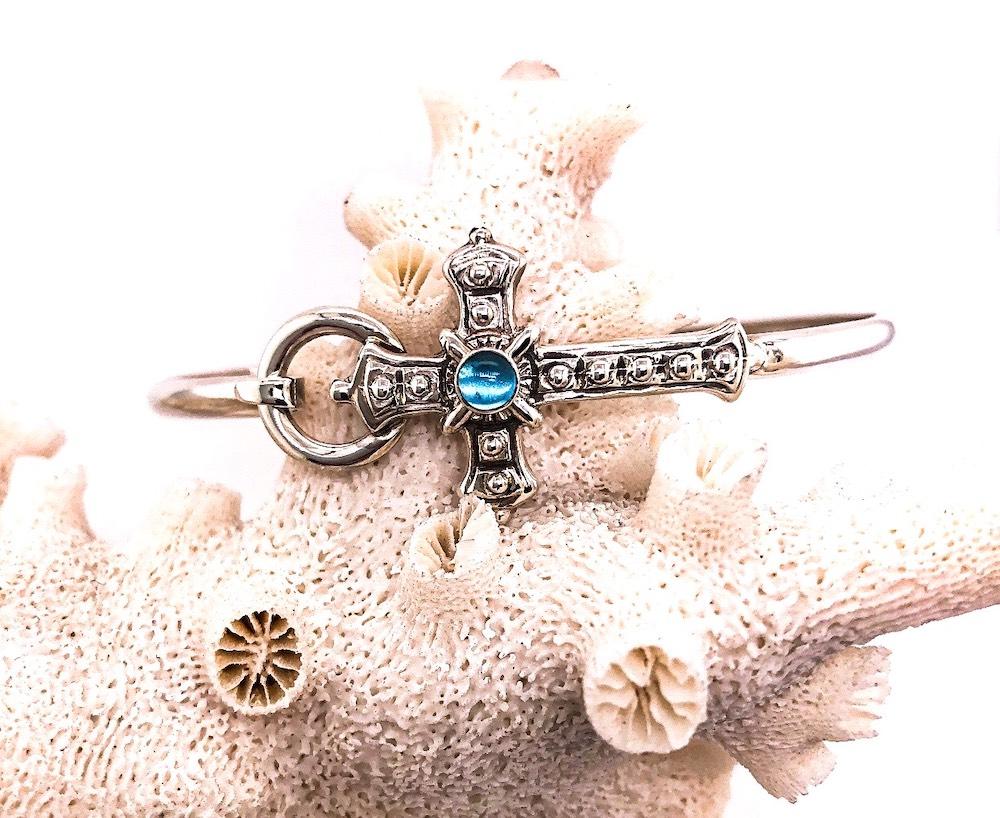 Ethnic Cross Blue Topaz Hook Bracelet