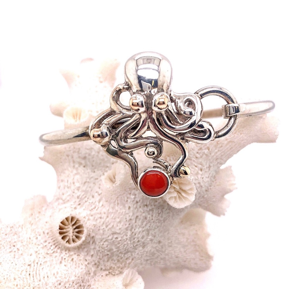 Octopus Red Coral Hook Bracelet