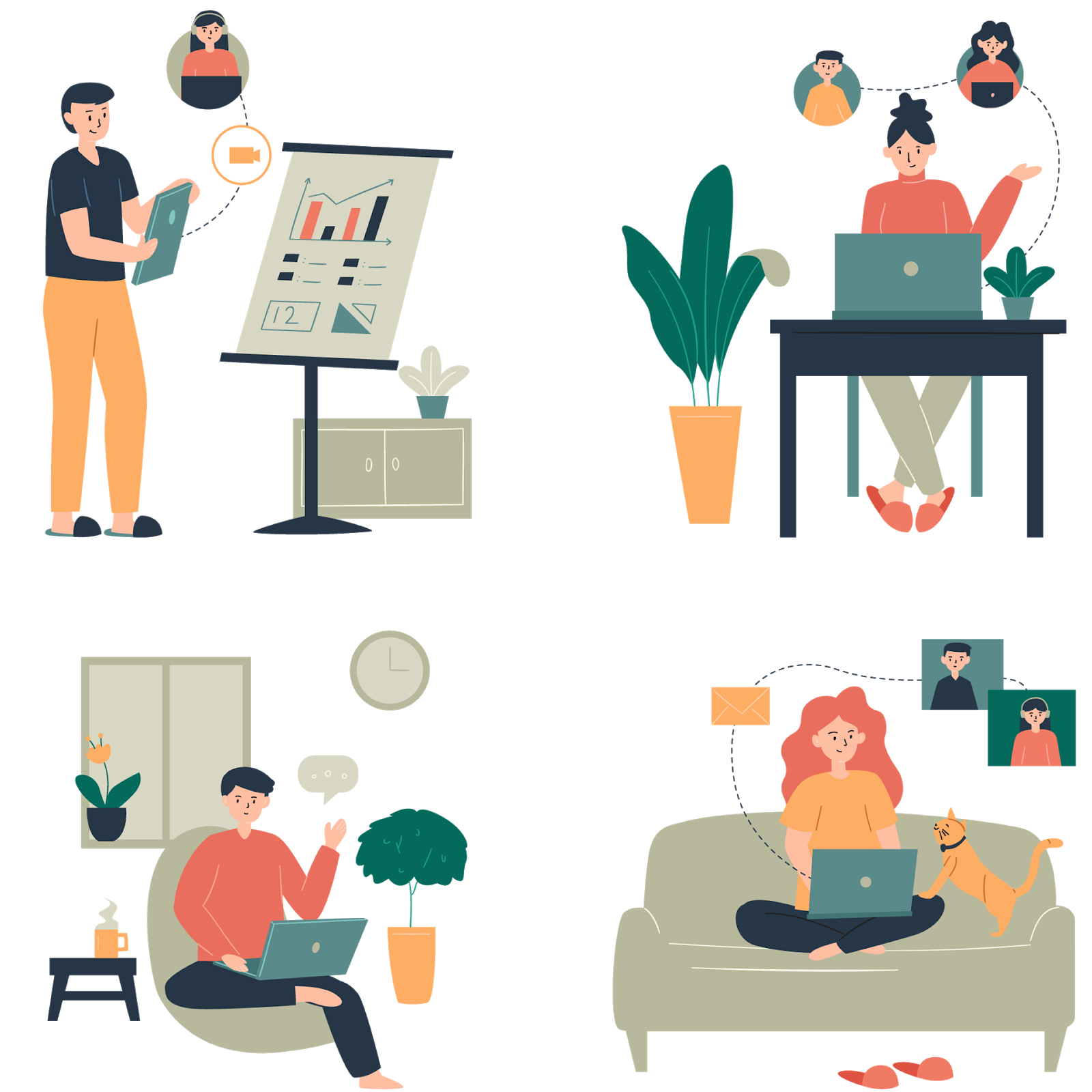illustration of people working from home