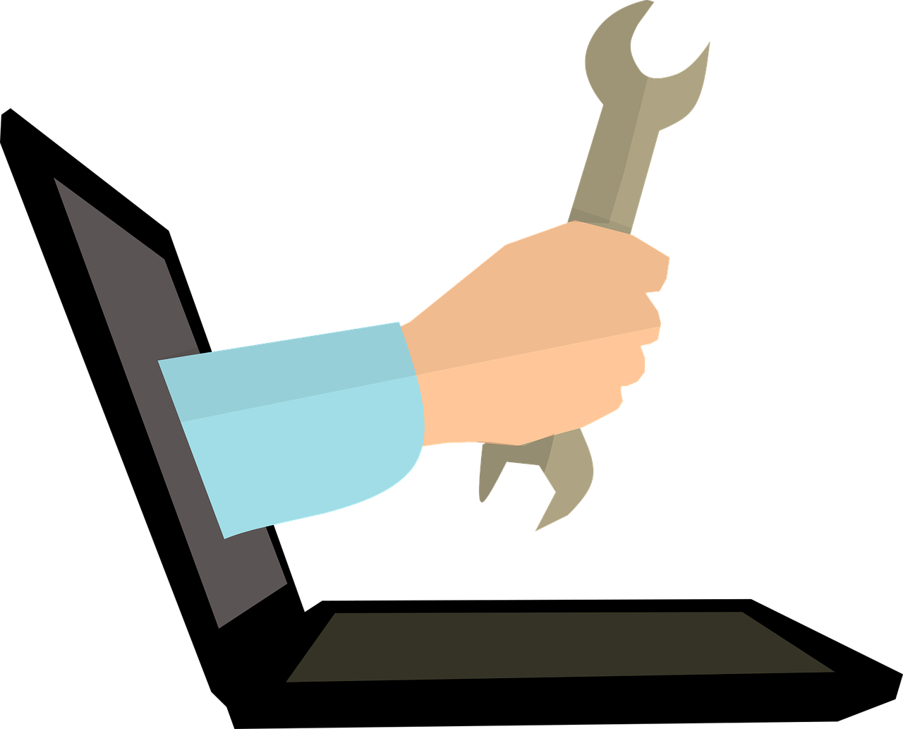 illustration of hand coming out of computer holding wrench