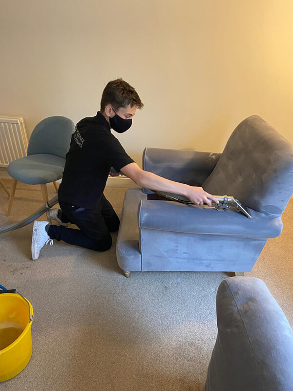 single alcantara chair cleaned in situ