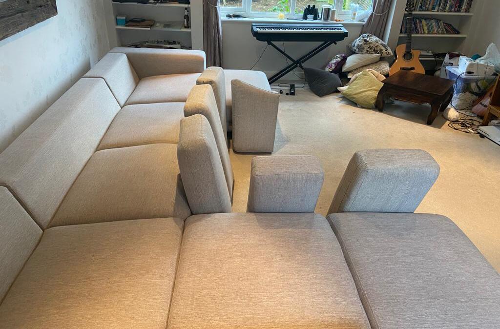6 seater corner unit sofa cleaning in situ