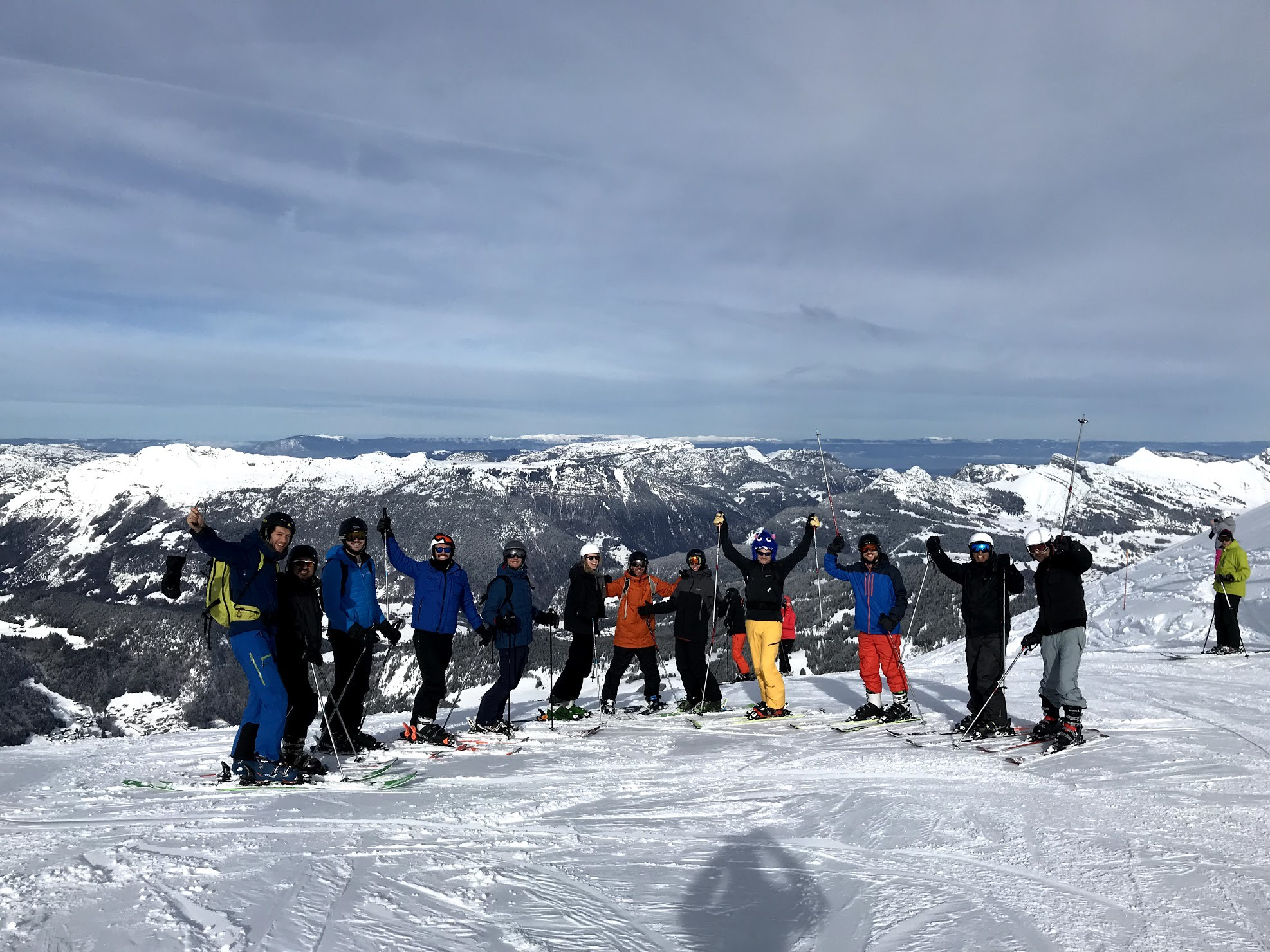 the birdie ski trip with the whole team