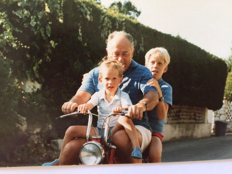 Founder of Birdie Max Parmentier as a boy, learning to ride a bicycle with his grandfather.