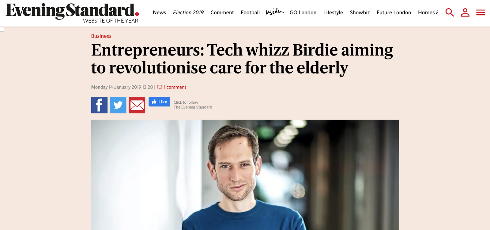 Birdie featured in an article in the evening standard explaining how birdie is revolutionising care for the elderly