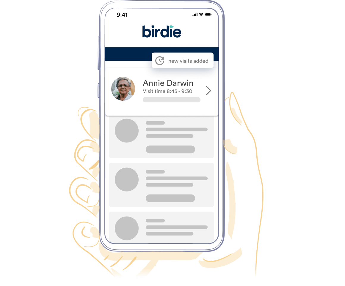 Hand drawn illustration of a hand holding an iphone and the Birdie app on screen showing Annie Darwins care log