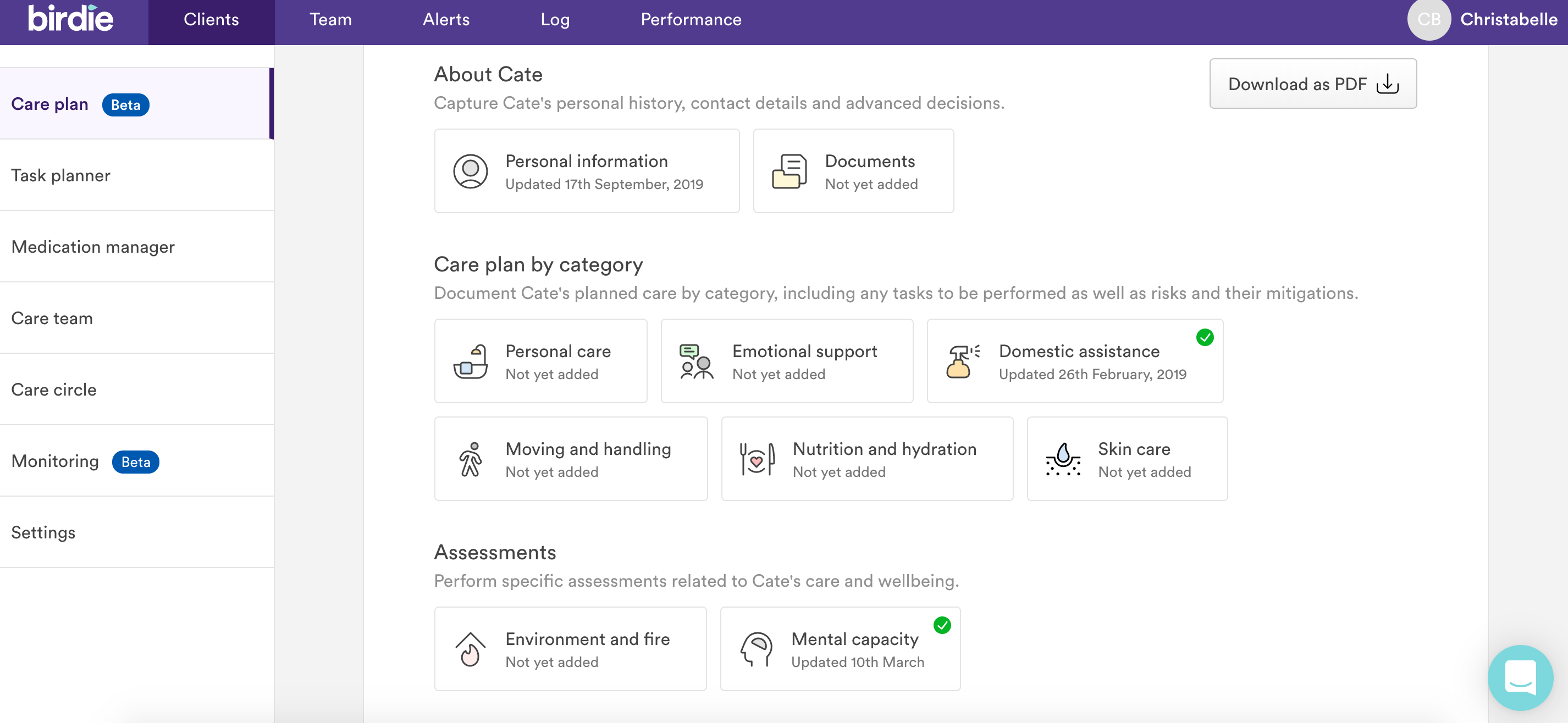 Birdie user interface showing assessments and care planning tools