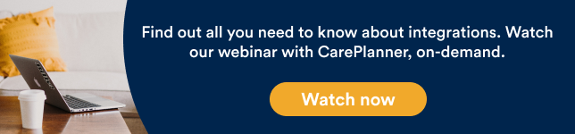Banner with a link to on demand webinar with care planner