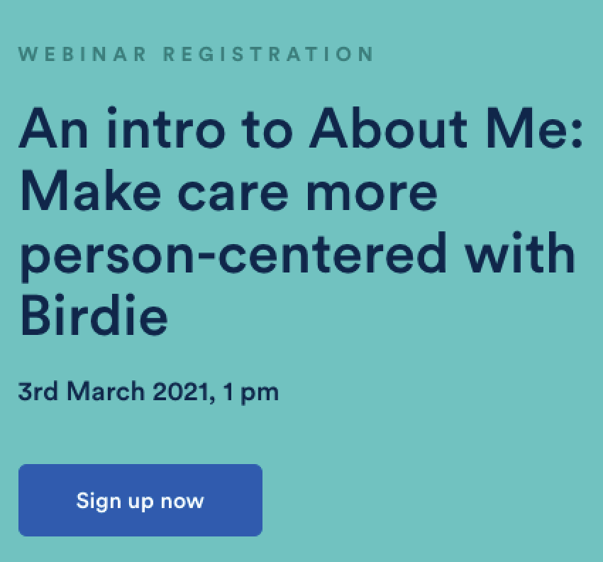 Sign up to the About Me webinar
