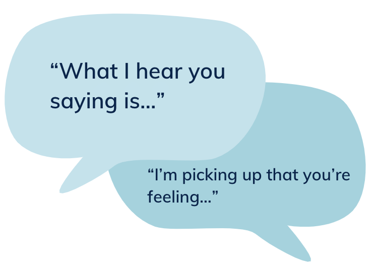 "Speech bubble that says: ""What I hear you saying is…""""I'm picking up that you're feeling…"""