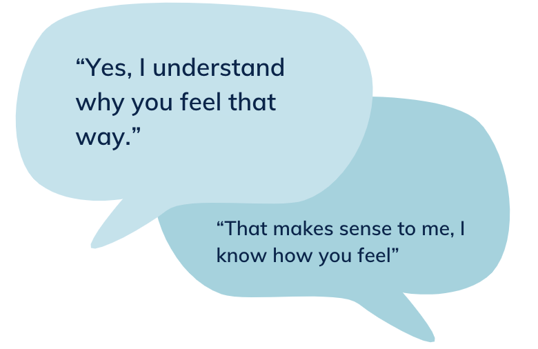 """""""Yes, I understand why you feel that way.""""""""That makes sense to me, I know how you feel"""""""