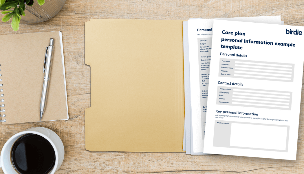 Open folder on wooden desk with a care plan example template open inside