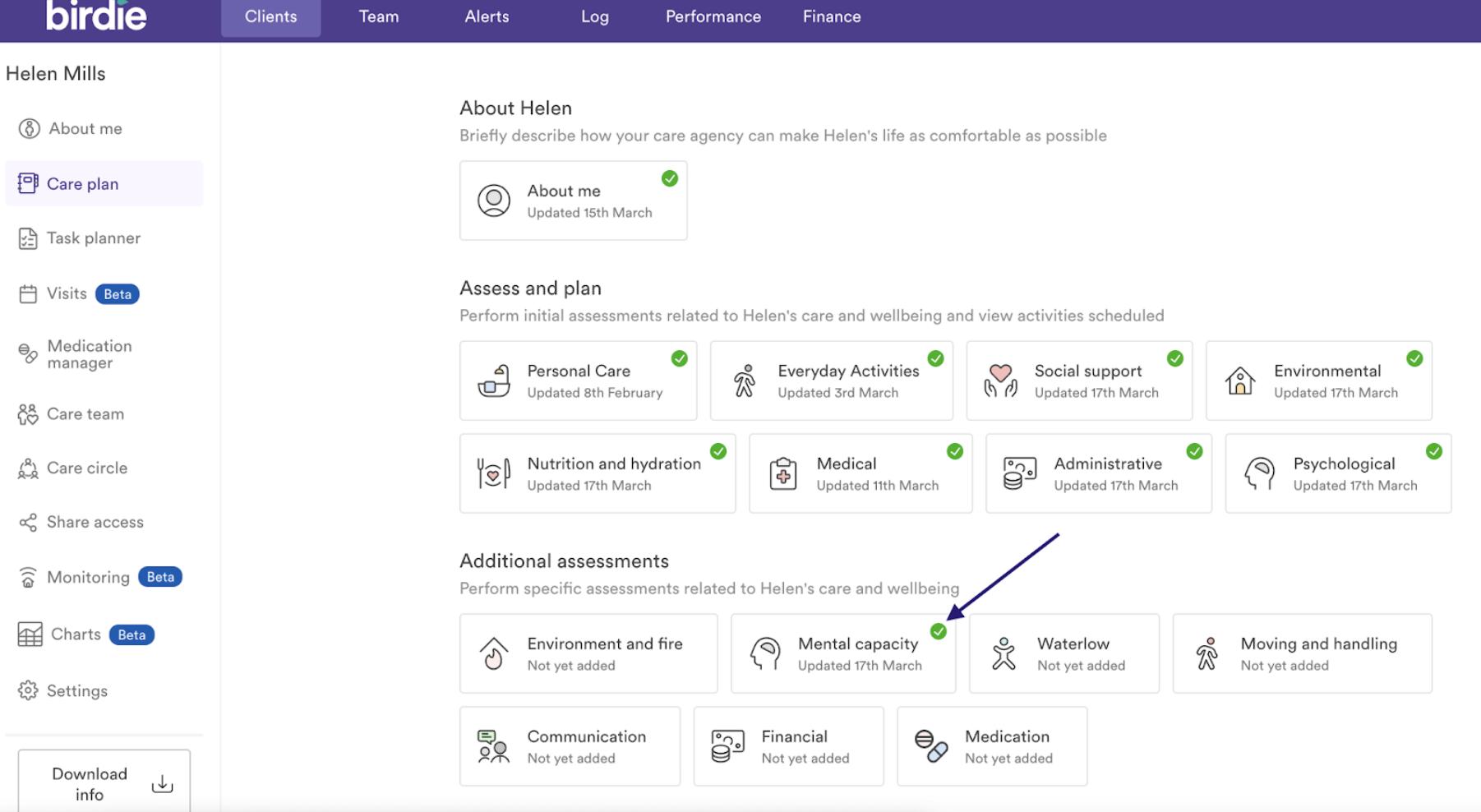 Screenshot showing Birdie App agency hub care plan section
