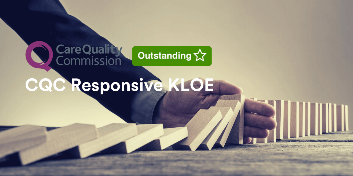 Man's hand intercepts falling wooden blocks, while wearing a suit. Title reads: CQC responsive KLOE with Care Quality Commission and Outstanding logo