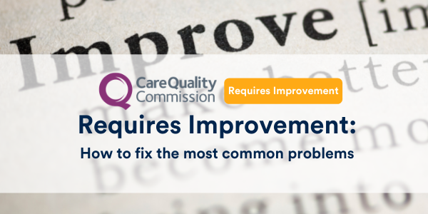 Header image with dictionary image of the word improve. Title reads: Requires improvement, how to fix the most common problems, with the CQC Logo and the Requires Improvement badge