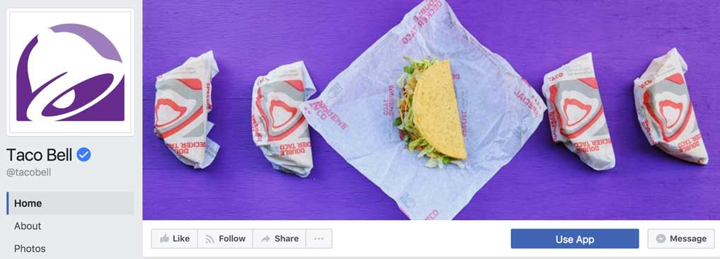 Taco bell facebook page, facebook page, social media