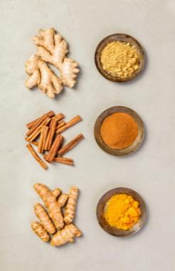 Anti imflammatory herbs and spices cinnamon turmeric ginger