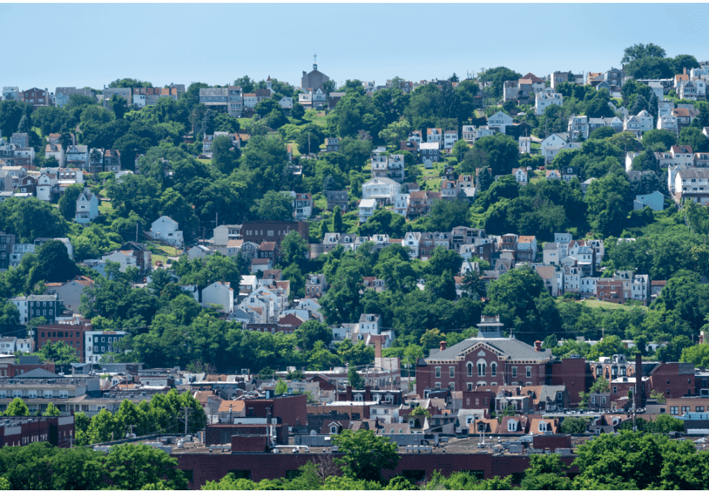 southside slopes green summer pittsburgh hot aerial view cityscape church