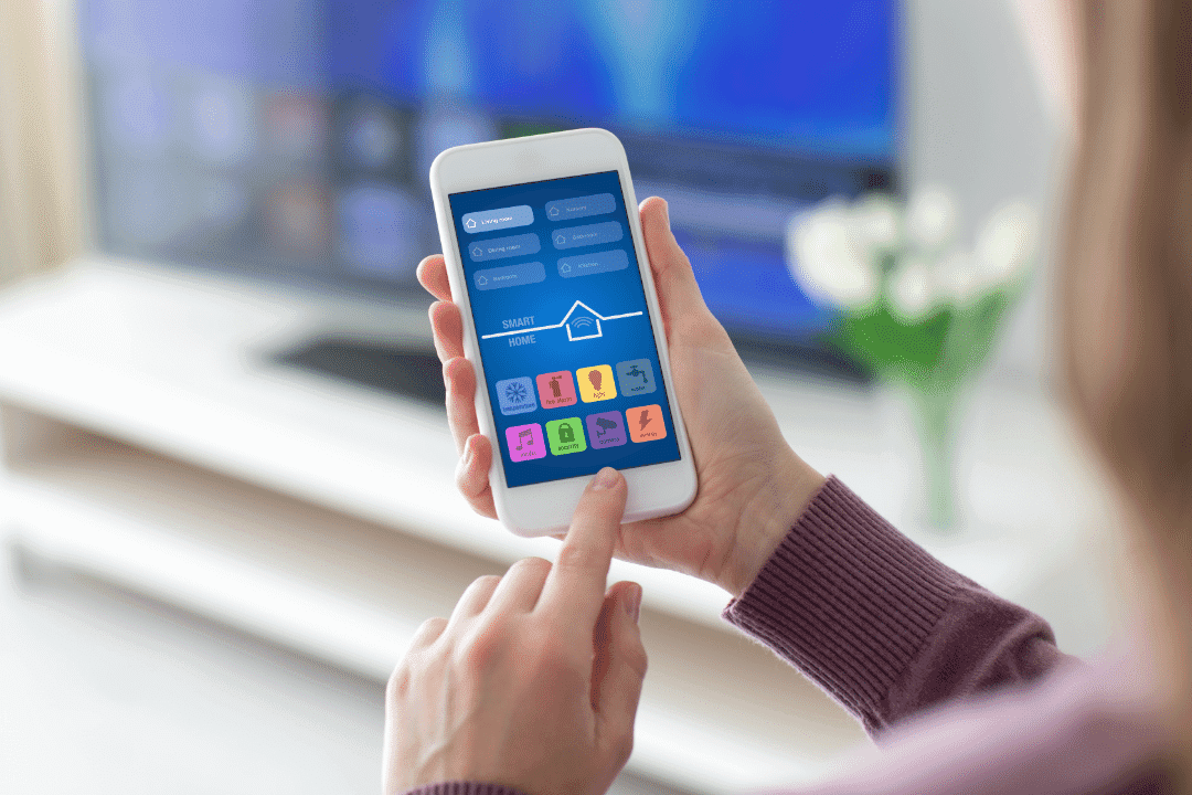 smartphone rendering with applications air conditioning focused full smart home automation