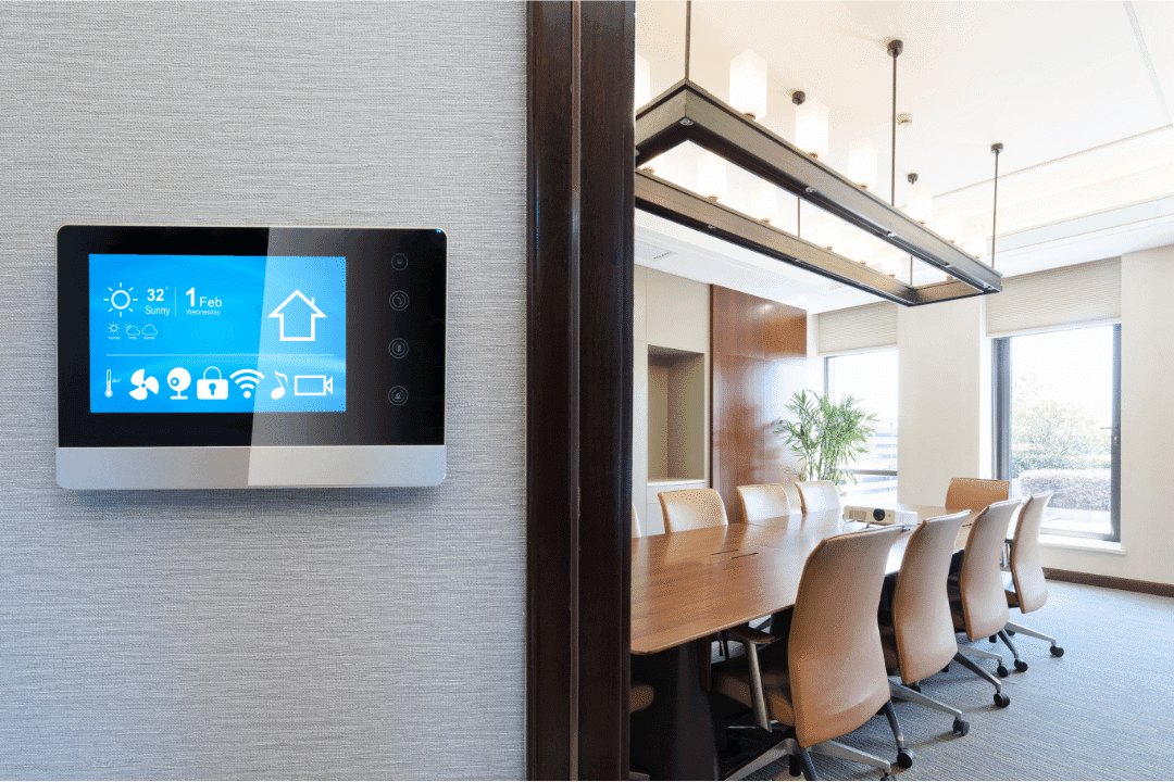 thermostat office building or kitchen style room controls on display