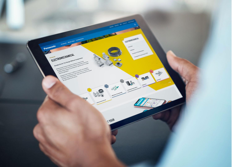 panasonic website shown on tablet
