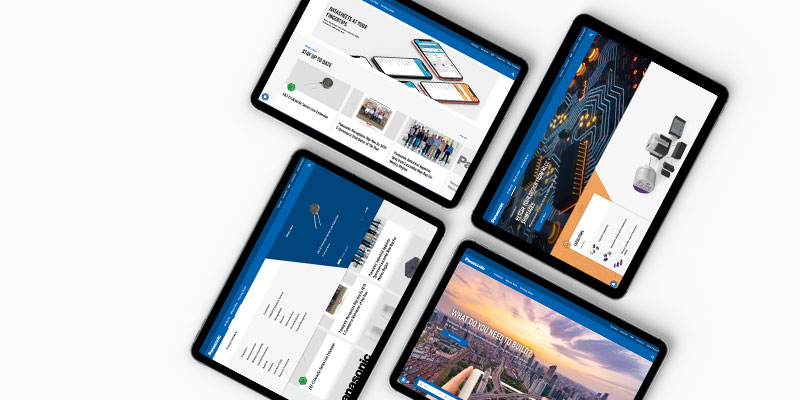 Panasonic Industrials website shown on tablets