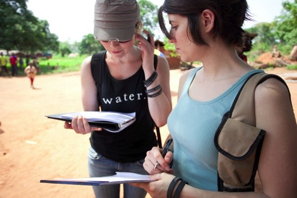Chatting about water data with Nicky Yates in the Central African Republic.