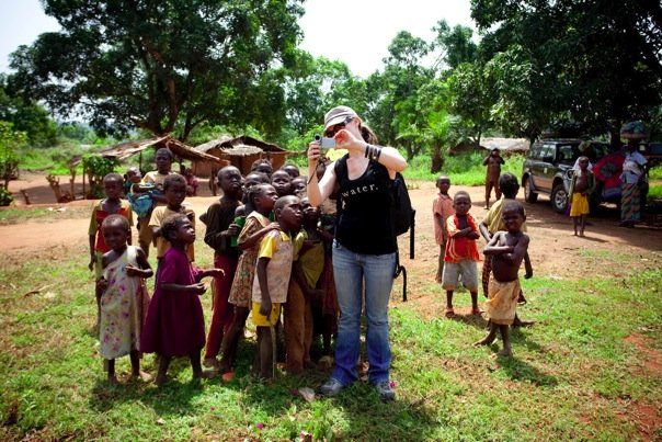 Becky Straw with school kids in the Central African Republic.