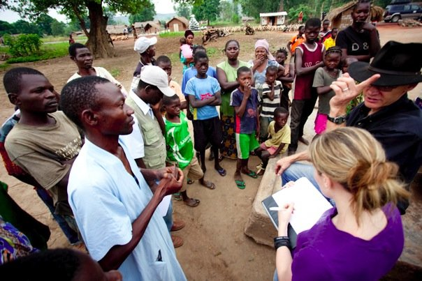 Collecting water interviews in Central African Republic.