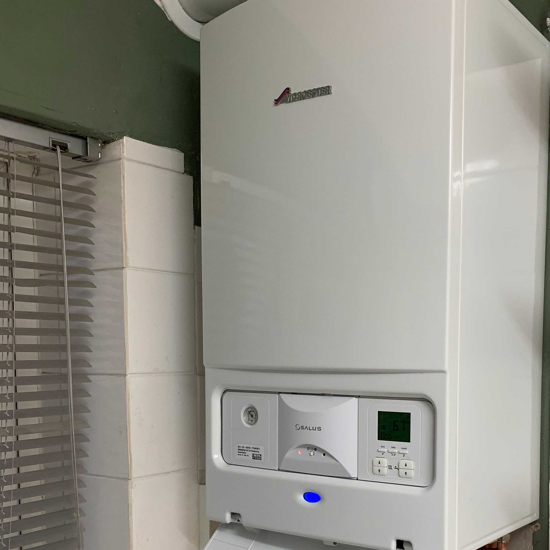 Photo of a newly installed gas boiler