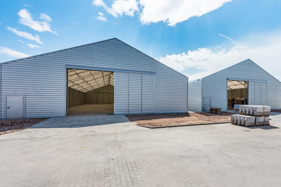 Photograph of a couple of hardstanding warehouses built by BigBox Buildings.