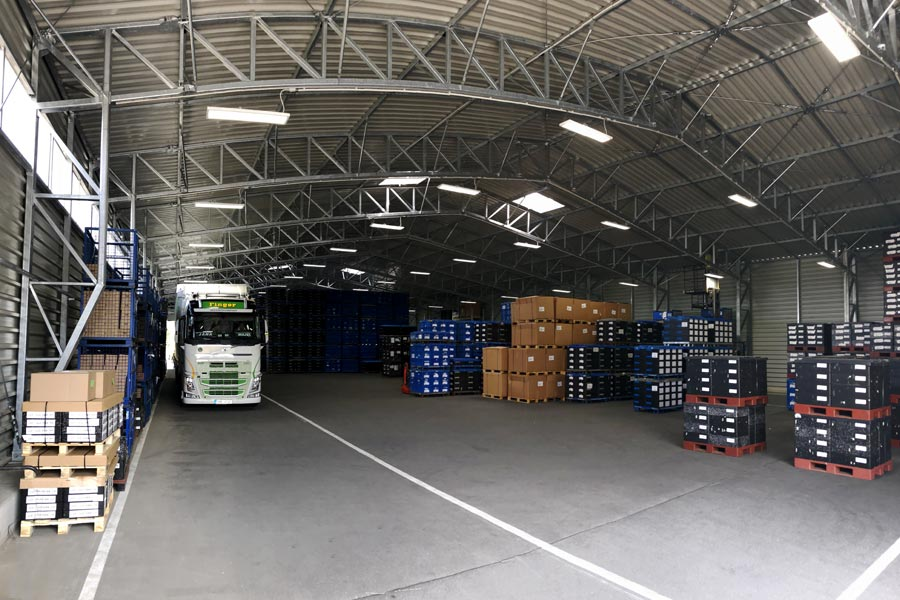 Photograph of the interior of a goods in/out warehouse built by BigBox Buildings.