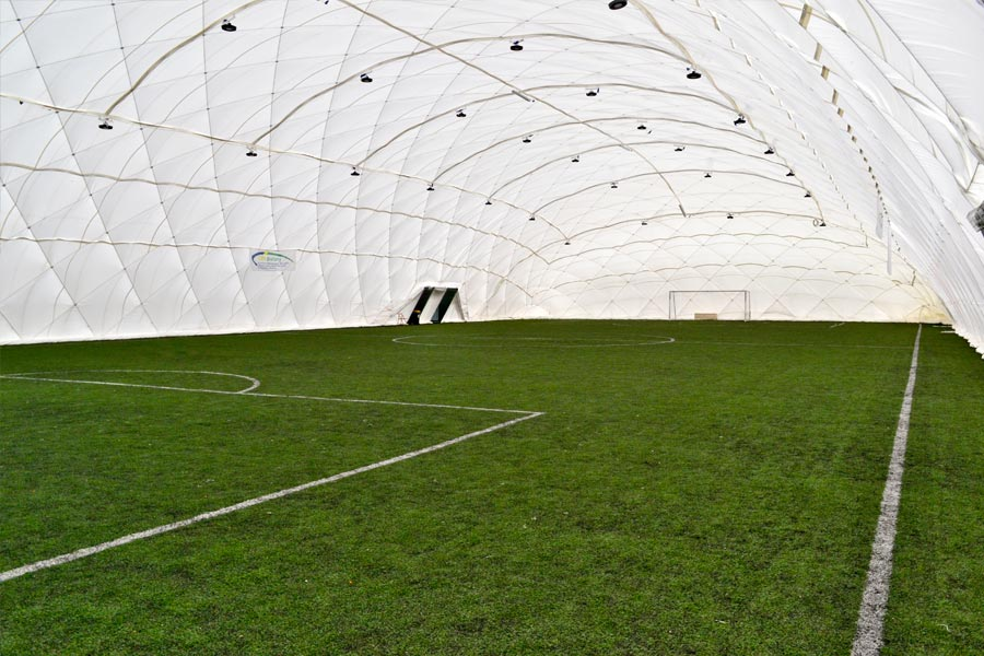 Photograph of an Inflatable Building in use for Football.