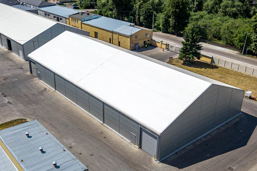 Steel framed buildings with a PVC Roofs.