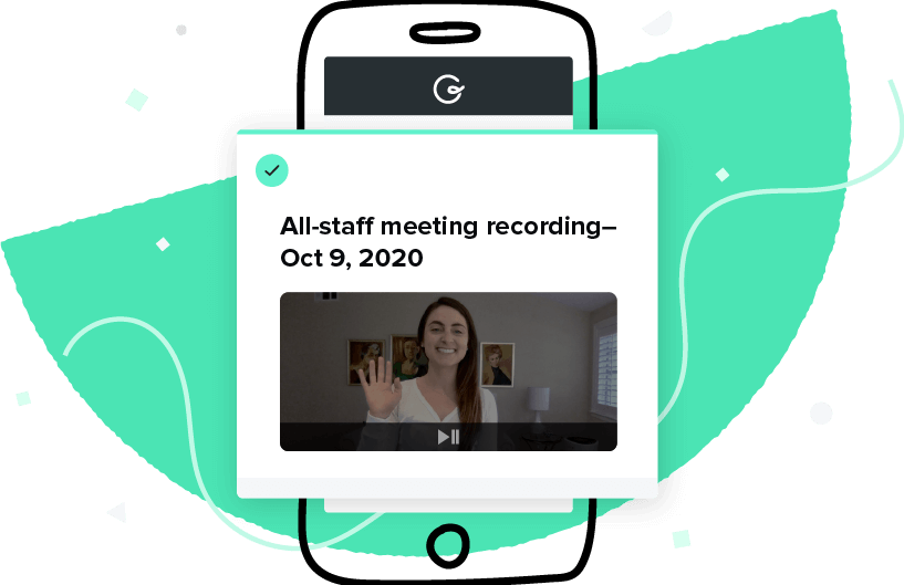 A Guru card surfacing a recorded all-staff meeting that can be referenced any time