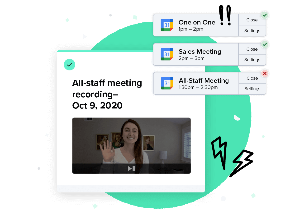 A Guru Card containing a recording of an all-staff meeting, which is contrasted by multiple notifications for various video-chat meetings