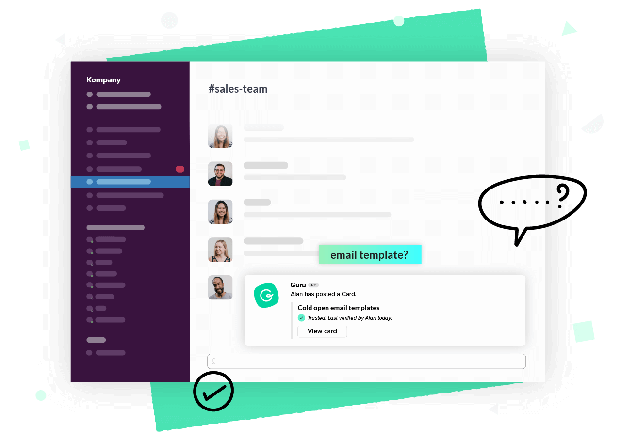 Someone answering a team mate's question with a Guru Card in a chat tool like Slack or Microsoft Teams