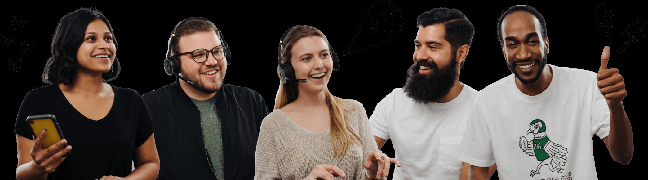 Five, friendly members of Guru's customer experience team