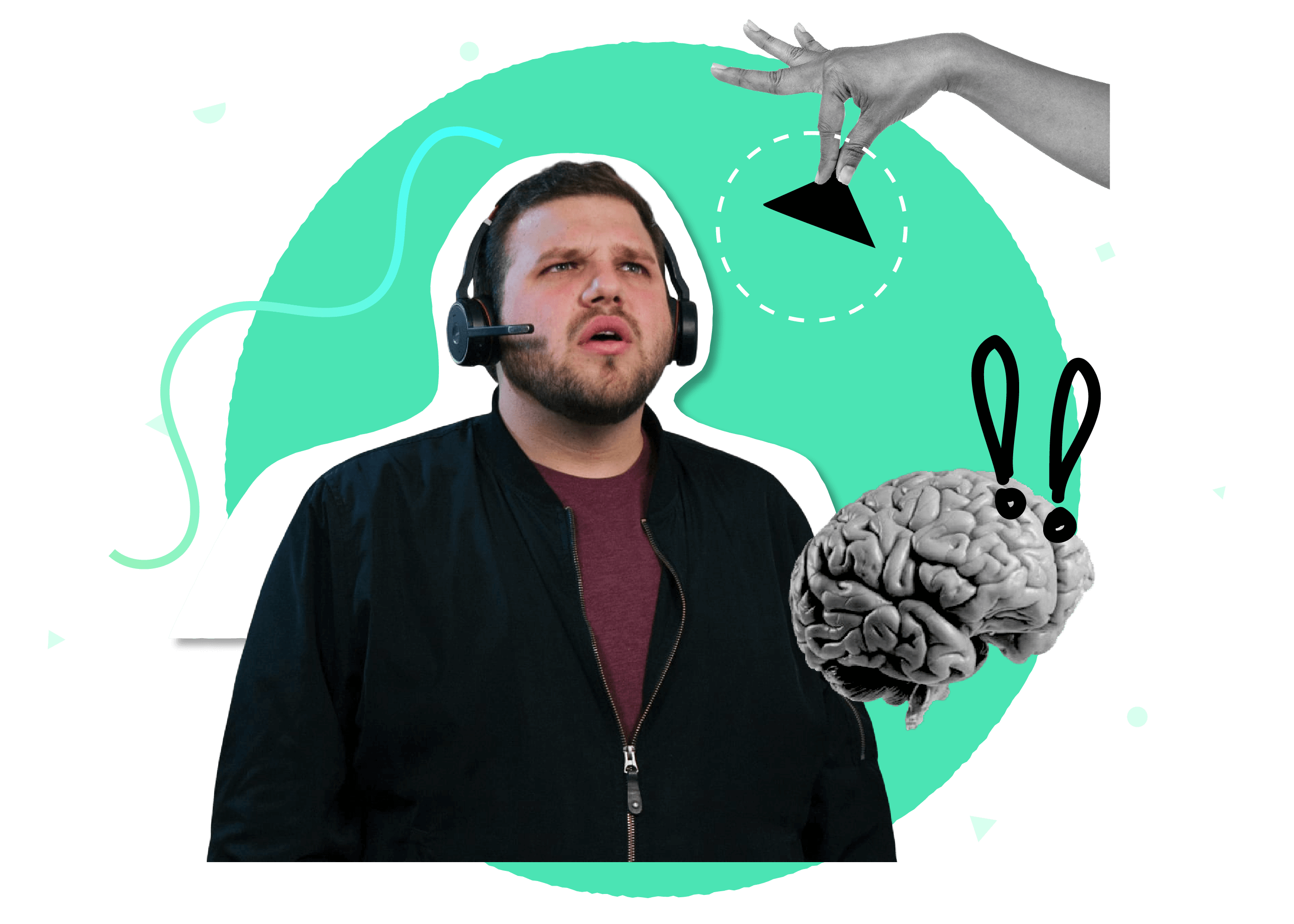 A branded collage including a man with a headset, an image of a brain, and hand holding an abstract shape representing knowledge