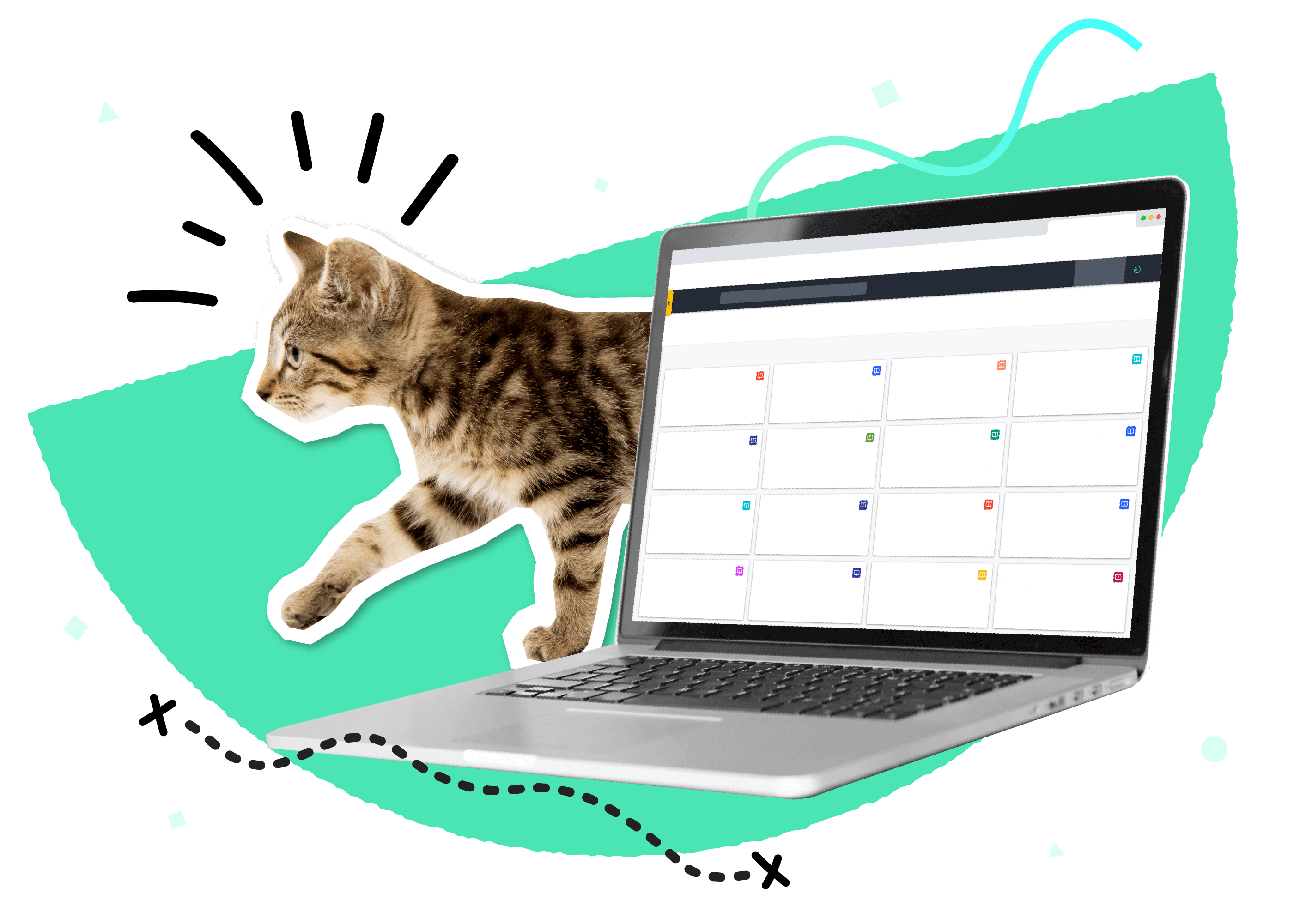 A cat walking behind a laptop displaying the Guru webapp