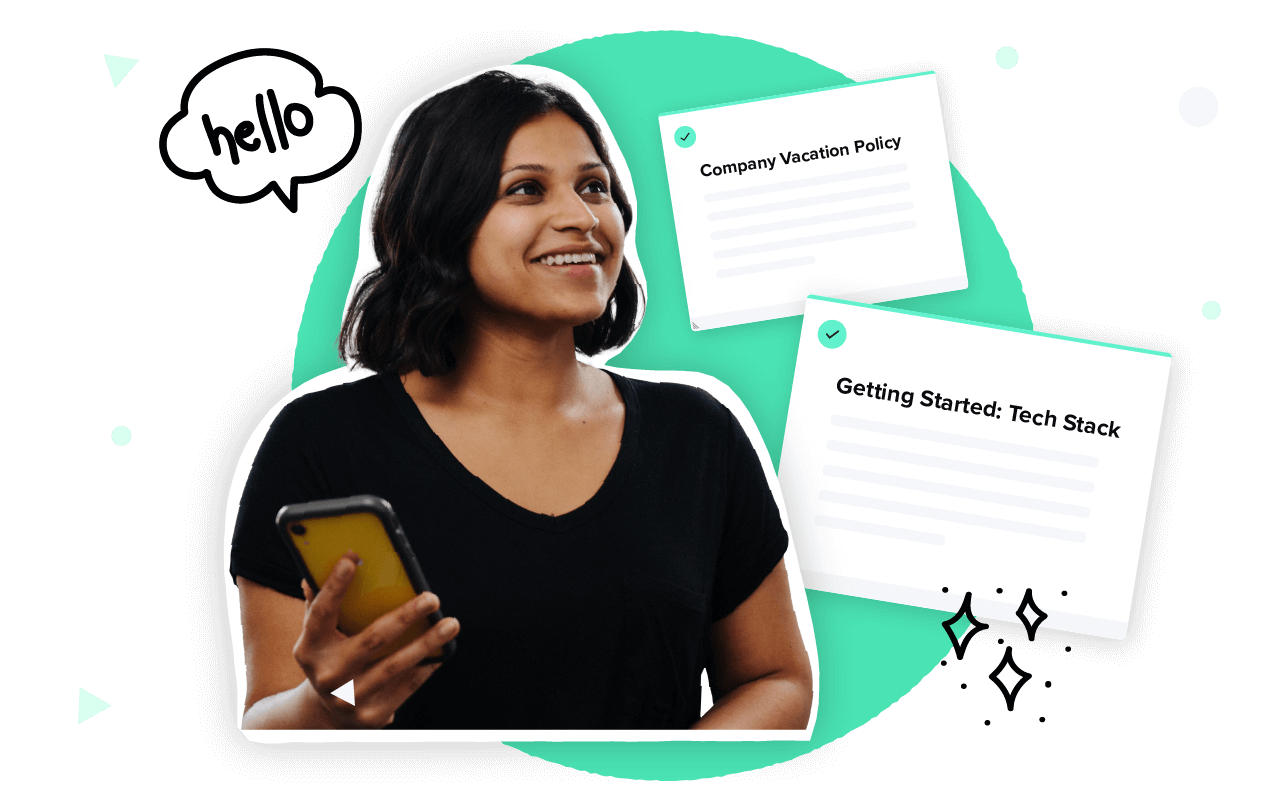 A collage that includes a smiling woman holding a smartphone, a chat bubble, a Guru Card titled Company Vacation Policy, and a Guru card titled Getting Started: Tech Stack
